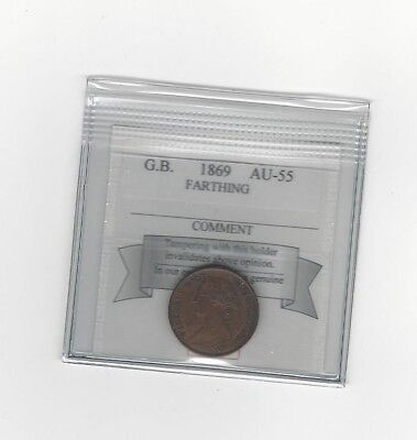 **1869**Great Britain, Farthing, KM#747.2, Coin Mart Graded **AU-55**