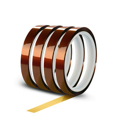 4 Rolls 10mm X 30m(100ft) High Temperature Heat Resistant Kapton Polyimide Tape