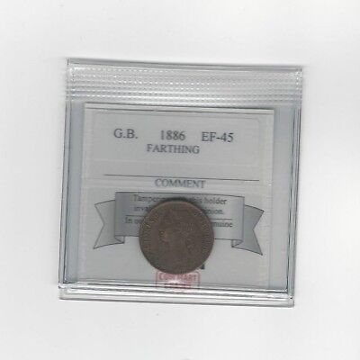 **1886**Great Britain, Farthing, KM#753, Coin Mart Graded **EF-45**