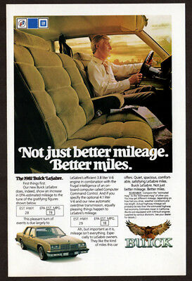 1981 BUICK LeSabre Vintage Original Print AD - Inside car photo better miles EN