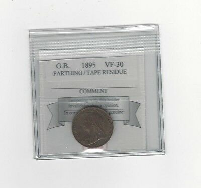 **1895**Great Britain, Farthing, KM#788.1, Coin Mart Graded **VF-30**Residue