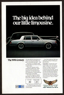 1981 BUICK Century Vintage Original Print AD Silver little limousine photo US EN