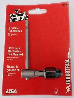 """Vermont American 21916 T-Handle Tap Wrench For Tap Sizes 0 - 1/4"""" USA"""