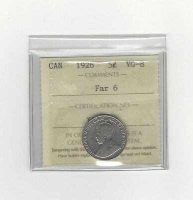 **1926 Far 6**, ICCS Graded Canadian,  5 Cent, **VG-8**