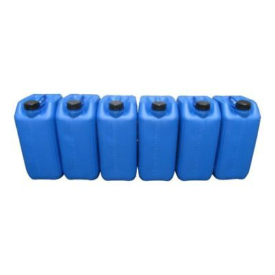 6 X 25 Litre 25L New Plastic Bottle Jerry Can Water Container Blue Heavy Duty