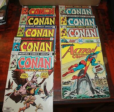 Lot of 9 Comic Books Conan & Superman's Action Comics