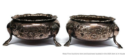 Pair Antique Sterling Silver William Edward Hutton English Footed Master Salts