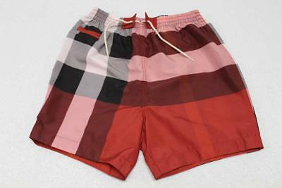 Burberry Boys' Size 2Y Saxon Swim Shorts In Parade Red Check 4009371