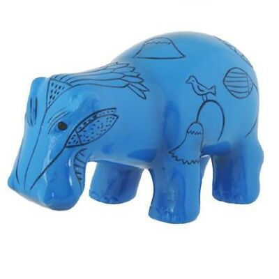 Ancient Egyptian Blue Hippopotamus William Figurine Egypt Hieroglyphics Hippo