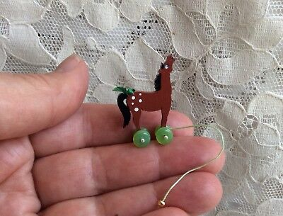 Artisan Dollhouse Miniature Cathy Ellis-O'Brien PIPSQUEEKERS Doll Horse Pull Toy