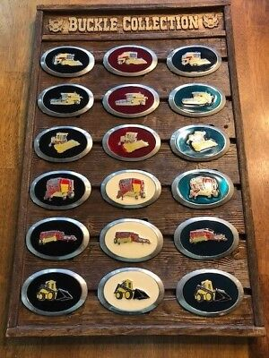 Vintage New Holland Farm Machinery Tractor Belt Buckle Collection with Display
