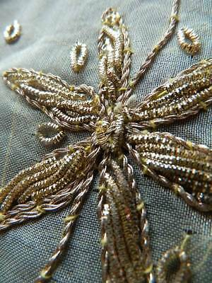 Vintage gold metallic wirework couched embroidery circular tablecloth tablecover