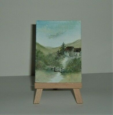 ACEO SFA original art  painting watercolour country cottages by Gweddus