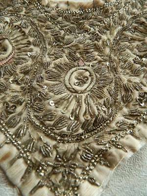 Antique Ottoman Islamic silver metallic couched wirework embroidery silk runner