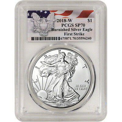 2018-W American Silver Eagle Burnished - PCGS SP70 First Strike Red Flag Label