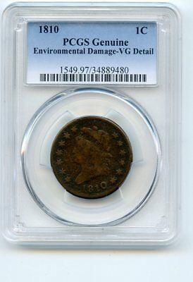 1810 Classic Head Cent PCGS Genuine
