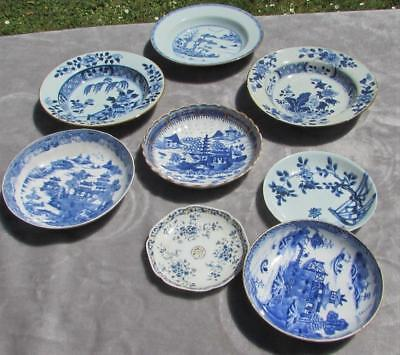 8 no. FINE ANTIQUE 18thC CHINESE QIANLONG B & W PLATES / DISHES CIRCA 1750