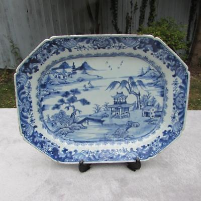LARGE ANTIQUE 18thC CHINESE QIANLONG BLUE & WHITE PLATTER SERVING DISH