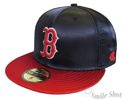 New Era 59Fifty MLB Boston Red Sox Men's Fitted Cap Satin Classic Navy/Red Sz 8