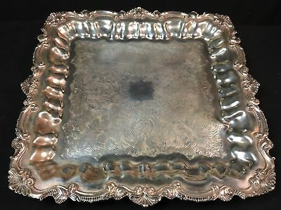 """WALLACE Chippendale Silver Plate 14.5"""" Square Footed TRAY X121 MINT"""