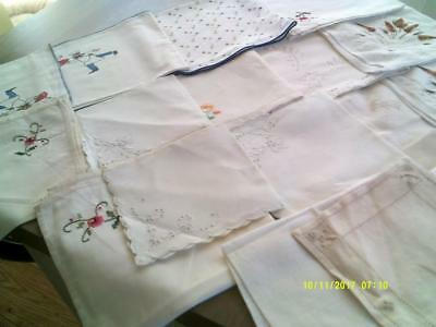 A Collection Vintage Napkins Embroidered And Print Designs