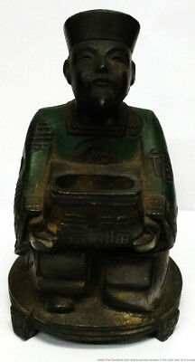 Antique Chinese Late Qing Early Republic Figural Incense Burner Seated Nobleman