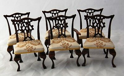 Fine Dollhouse Miniature Queen Anne Dining Chair Set Artisan CJ Traill Hill