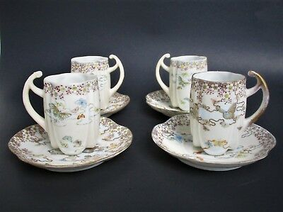 Four Fine  Antique Japanese Eggshell Porcelain Cups and Saucers