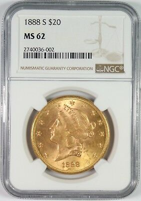 1888-S $20 Gold Liberty Head Double Eagle Coin NGC MS62 **Better Date**