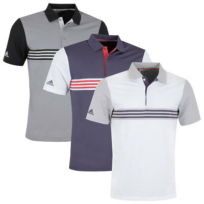 68f38820575 Adidas Golf Mens Ultimate365 3-Stripes Stretch Breathable Polo Shirt Top
