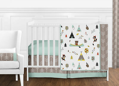 Bumperless Neutral Grey Woodland Fox Bear Baby Boy Girl Nursery Crib Bedding Set