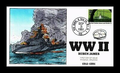 Dr Jim Stamps Us Collins Hand Colored Fdc Ww Ii Ruben James 1991 Scott 2559F