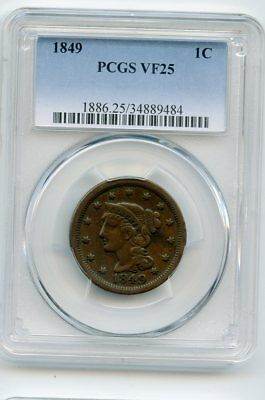 1849 Braided Hair Large Cent (VF 25) PCGS