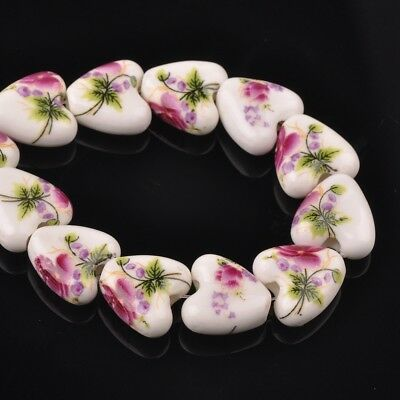 NEW 10pcs 14mm Ceramic Heart Flowers Loose Spacer Beads Findings Pattern #22