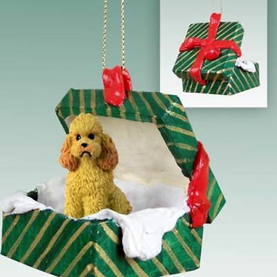 Poodle Apricot Sport Cut Dog Green Gift Box Holiday Christmas ORNAMENT