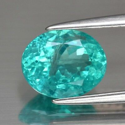 1.96ct 8.6x7mm Oval Natural Unheated Paraiba-Color Neon Green Blue Apatite