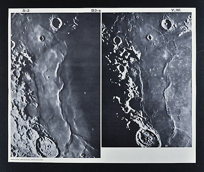 1960 Lunar Moon Map Photo Craters - Observatory Plates - Yerkes Y72 & Wilson W90