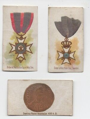 Lot of 3 1890s Cigarette Card two of Medals and one Ancient Coin