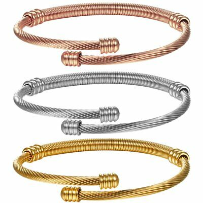 3pcs Bracelet Stainless Steel Twisted Cable Bangle Bracelet Open Cuff Adjustable