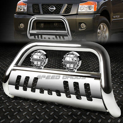Chrome Bull Bar Grille Guard+Chrome Fog Light For 05+ Nissan Frontier /pathfinder