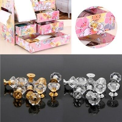 10PC Diamond Shape Crystal Glass Cabinet Knob Drawer Pull Handle For Jewelry Box