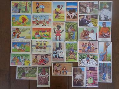 Lot Of 30 Black Americana Postcards Humorous Cards Children Kids Humor