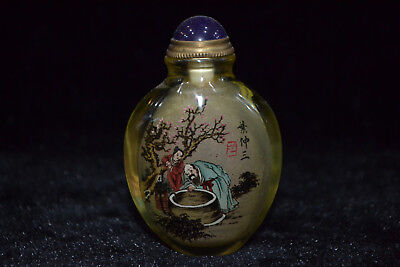 old china Vintage glass inside paint figure decorate Collectible Snuff Bottle