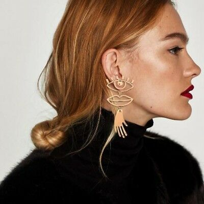 Geometric Hollow Eye Lip Palm Statement Earrings for Women Abstract Face Jewelry
