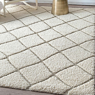 Nuloom Soft And Plush Moroccan Trellis Cream Rug 5 3 X 7