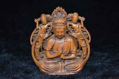Collectible boxwood handwork Carved buddha rare exorcise lucky Statue netsuke