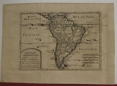 South America 1705 Jean Baptiste Nolin Antique Original Copper Engraved Map