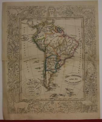 South America 1837 Karl Vogel Antique Original Colored Lithographic Map