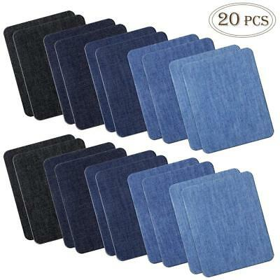 COCESA 20pcs Iron on Denim Fabric Patches for Clothing Jeans Repair Kit 5 Colors