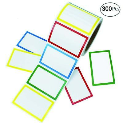 """COCESA 300 Colorful Name Label Stickers Ordinary Labels, 3.5"""" x 2.25"""", 4 Colors"""